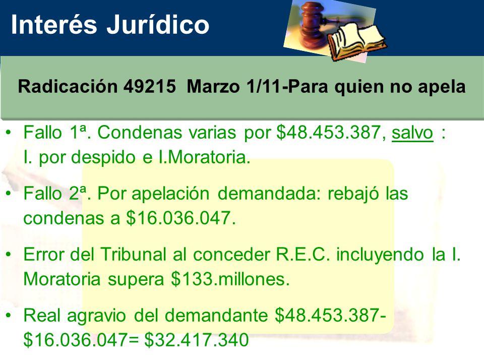 Interés Jurídico Radicación 49215 Marzo 1/11-Para quien no apela Fallo 1ª.