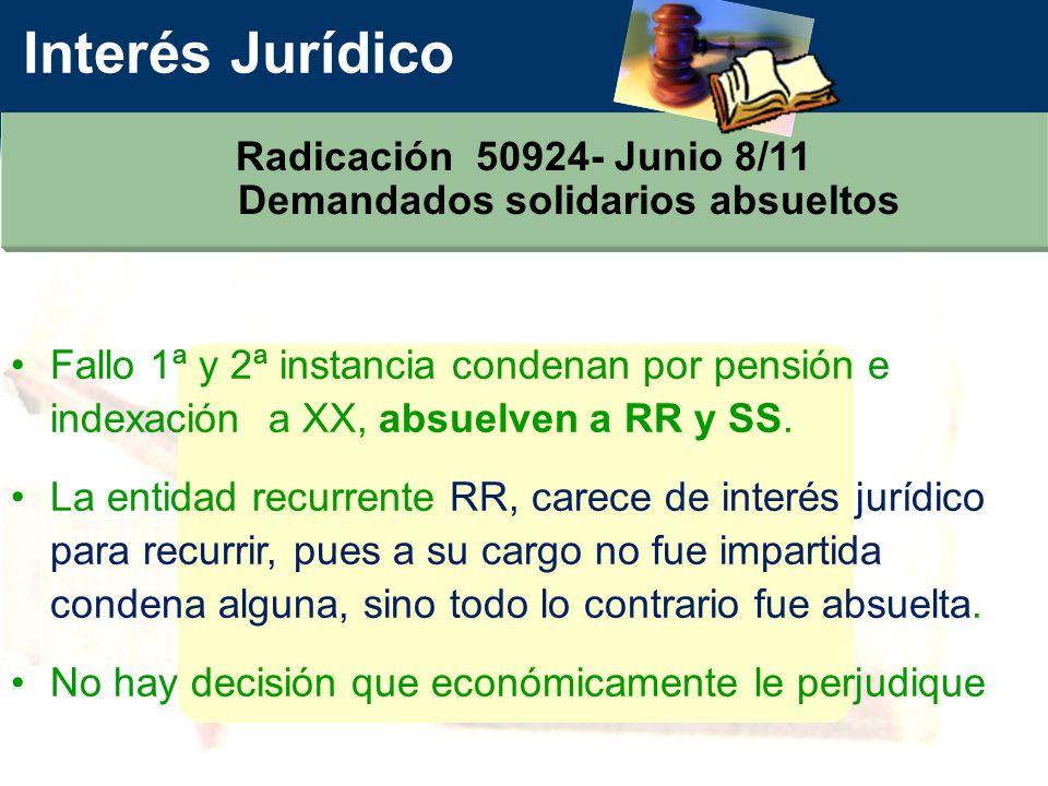 Interés Jurídico Radicación 50924- Junio 8/11 Demandados solidarios absueltos Fallo 1ª y 2ª instancia condenan por pensión e indexación a XX, absuelven a RR y SS.