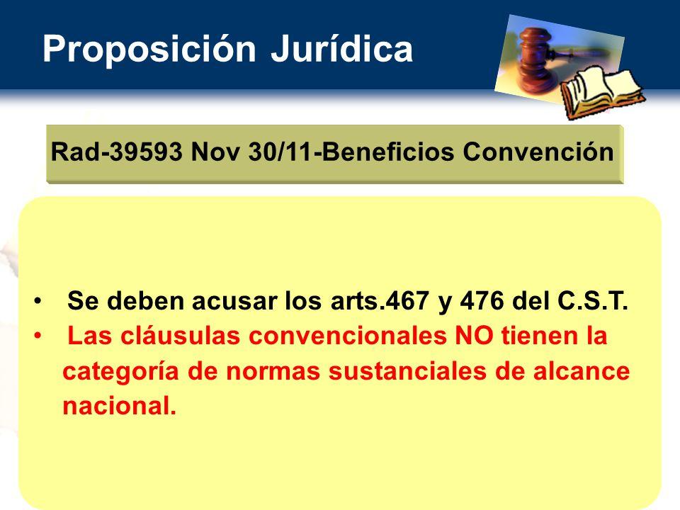 Proposición Jurídica Rad-39593 Nov 30/11-Beneficios Convención Se deben acusar los arts.467 y 476 del C.S.T.