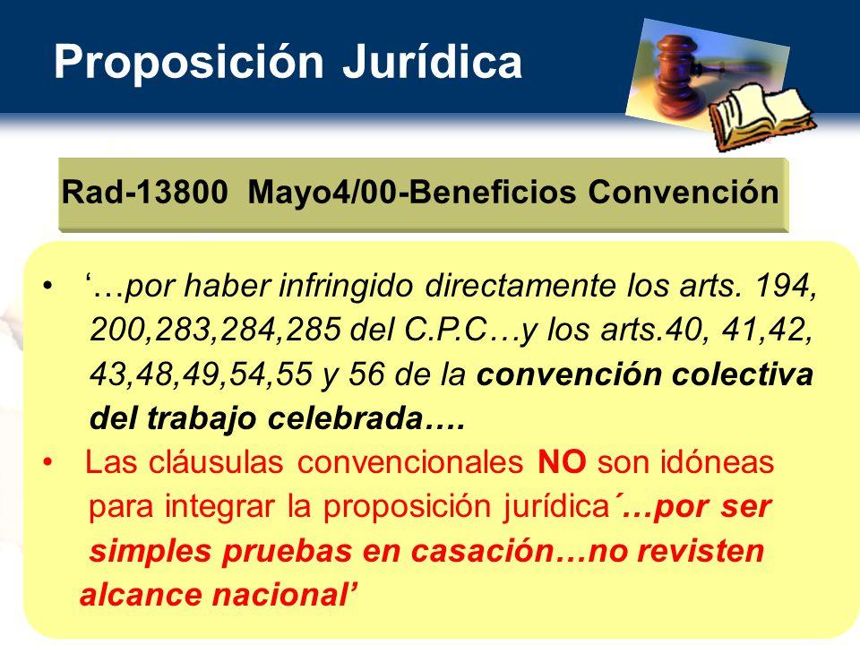 Proposición Jurídica Rad-13800 Mayo4/00-Beneficios Convención …por haber infringido directamente los arts.