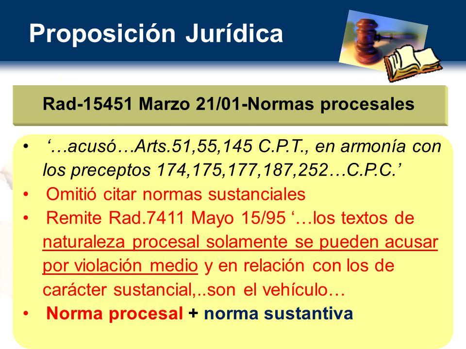 Proposición Jurídica Rad-15451 Marzo 21/01-Normas procesales …acusó…Arts.51,55,145 C.P.T., en armonía con los preceptos 174,175,177,187,252…C.P.C.