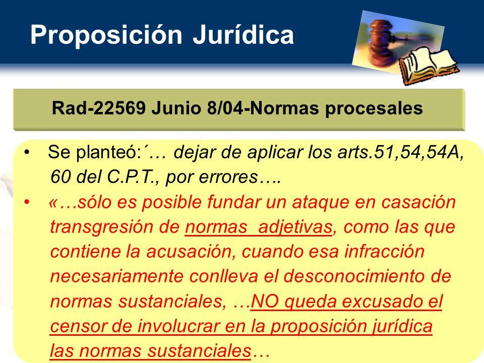 Proposición Jurídica Rad-22569 Junio 8/04-Normas procesales Se planteó:´… dejar de aplicar los arts.51,54,54A, 60 del C.P.T., por errores….