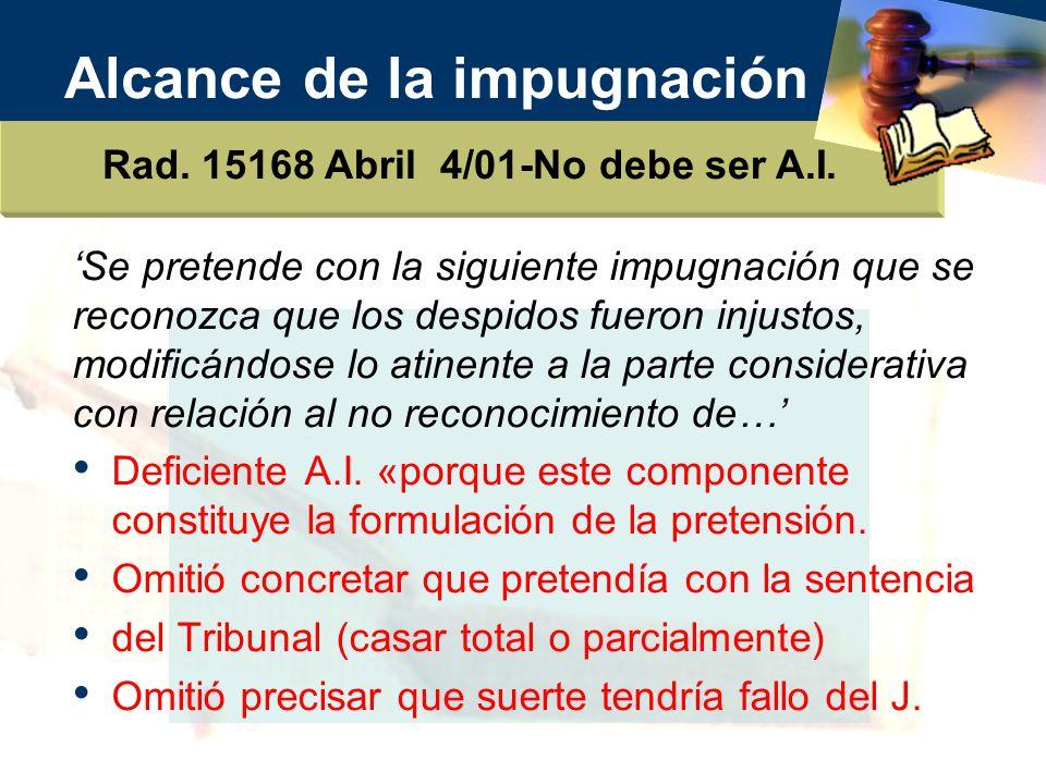 Alcance de la impugnación Rad.15168 Abril 4/01-No debe ser A.I.