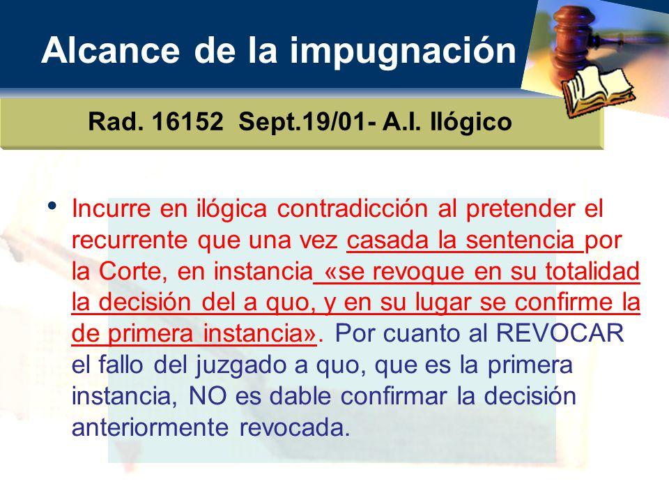 Alcance de la impugnación Rad.16152 Sept.19/01- A.I.