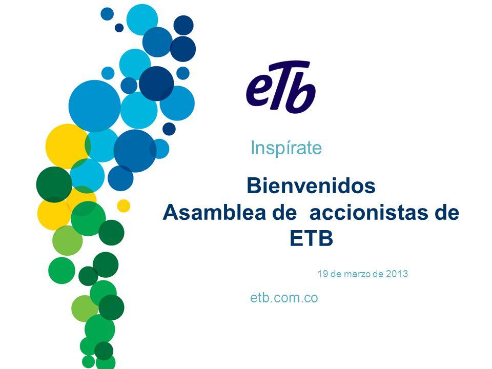 Inspírate etb.com.co Bienvenidos Asamblea de accionistas de ETB 19 de marzo de 2013