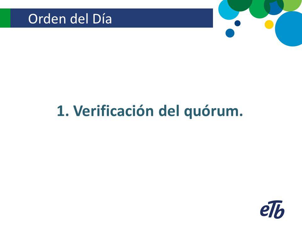 Orden del Día 1. Verificación del quórum.