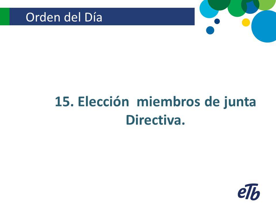 Orden del Día 15. Elección miembros de junta Directiva.