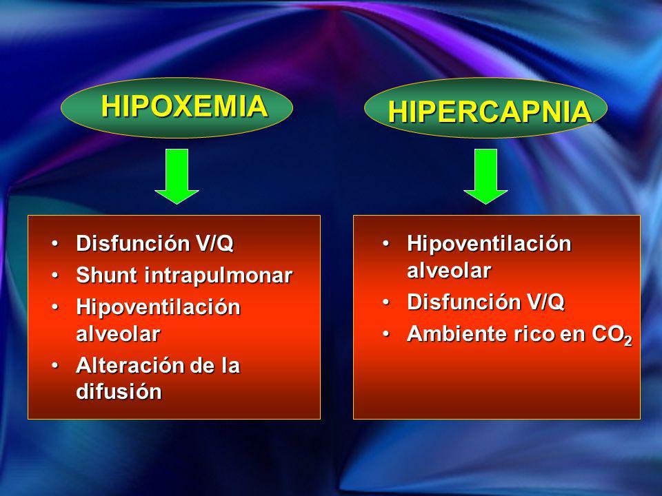 Disfunción V/QDisfunción V/Q Shunt intrapulmonarShunt intrapulmonar Hipoventilación alveolarHipoventilación alveolar Alteración de la difusiónAlteraci