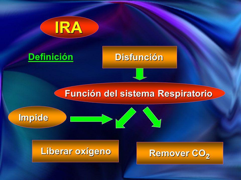 IRA Definición Disfunción Función del sistema Respiratorio Impide Liberar oxígeno Remover CO 2