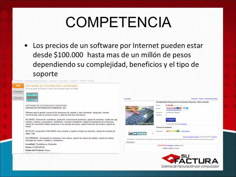 Los precios de un software por Internet pueden estar desde $100.000 hasta mas de un millón de pesos dependiendo su complejidad, beneficios y el tipo de soporte COMPETENCIA