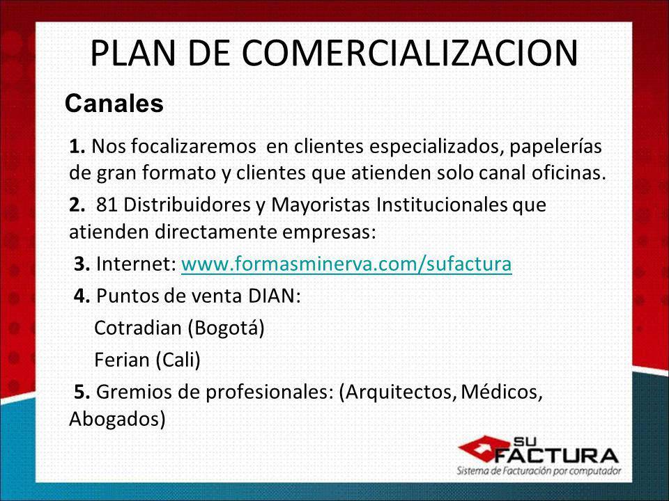 PLAN DE COMERCIALIZACION 1. Nos focalizaremos en clientes especializados, papelerías de gran formato y clientes que atienden solo canal oficinas. 2. 8