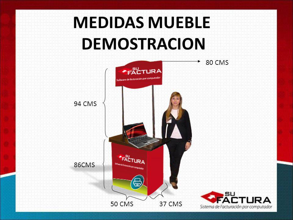 MEDIDAS MUEBLE DEMOSTRACION 80 CMS 94 CMS 86CMS 50 CMS37 CMS