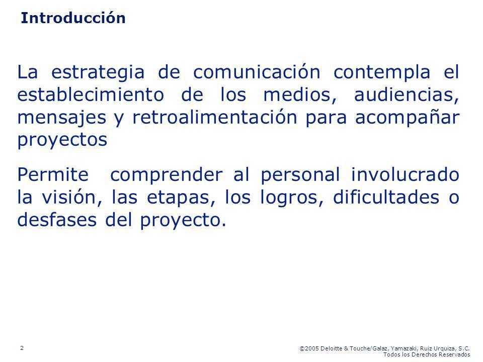 ©2005 Deloitte & Touche/Galaz, Yamazaki, Ruiz Urquiza, S.C. Todos los Derechos Reservados 2 Introducción La estrategia de comunicación contempla el es