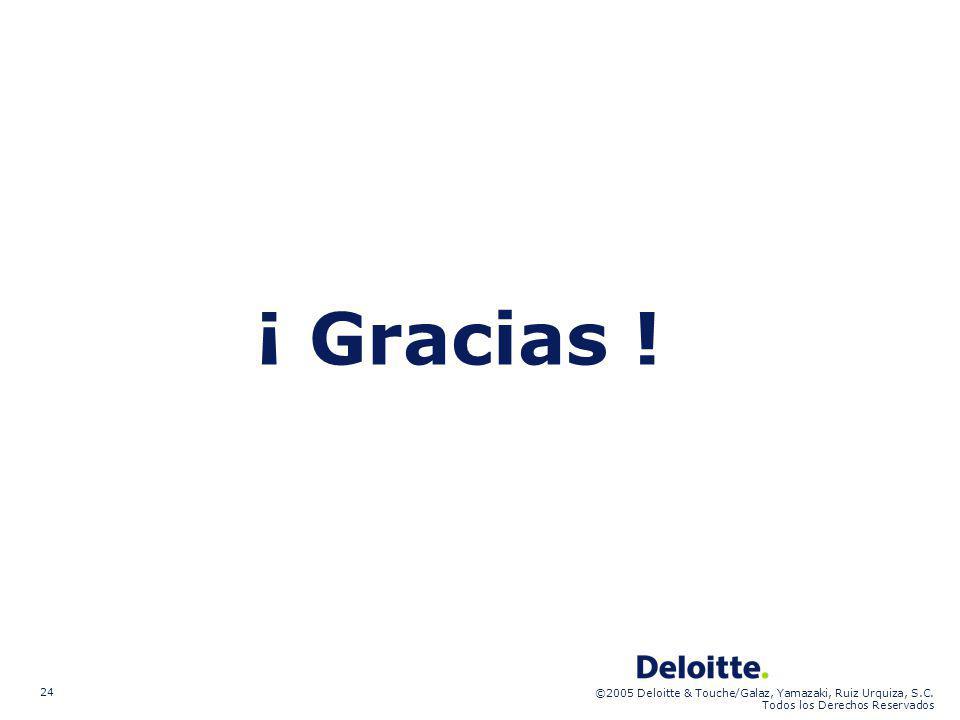 ©2005 Deloitte & Touche/Galaz, Yamazaki, Ruiz Urquiza, S.C. Todos los Derechos Reservados 24 ¡ Gracias !