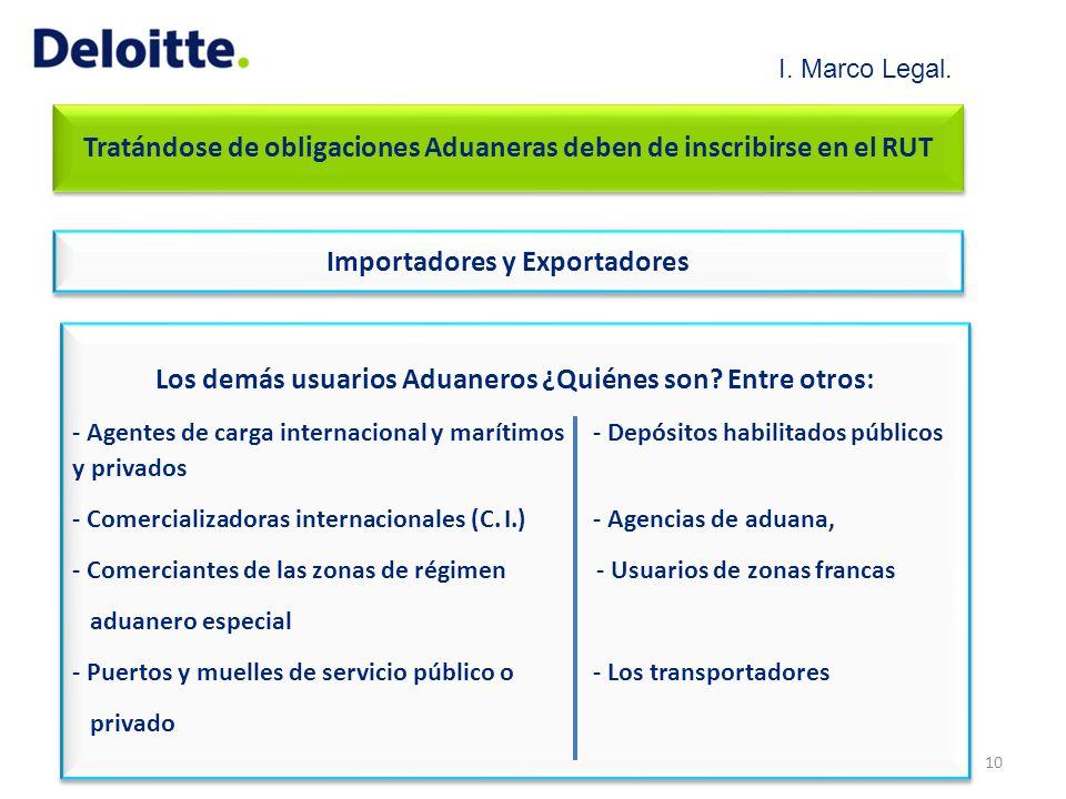 Tratándose de obligaciones Aduaneras deben de inscribirse en el RUT Importadores y Exportadores Los demás usuarios Aduaneros ¿Quiénes son? Entre otros