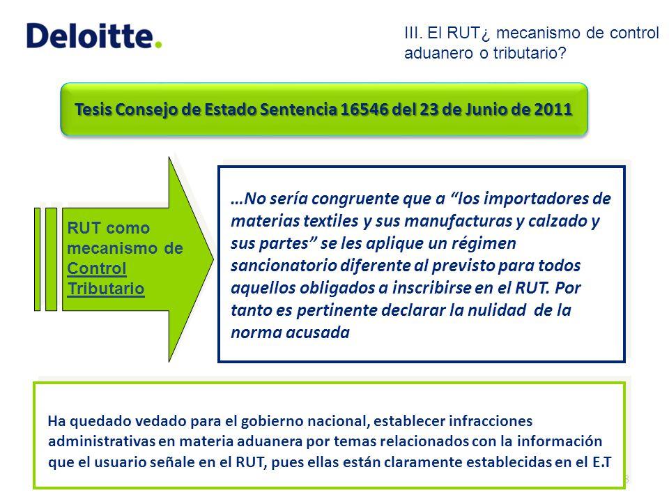 Tesis Consejo de Estado Sentencia 16546 del 23 de Junio de 2011 RUT como mecanismo de Control Tributario 18 …No sería congruente que a los importadore