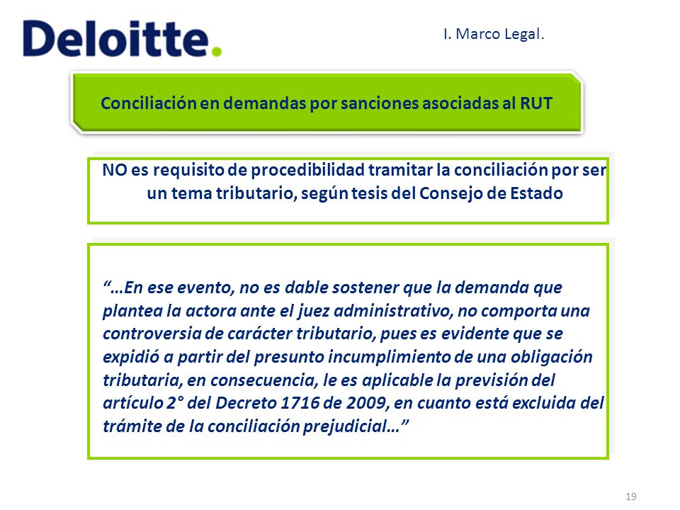 19 Conciliación en demandas por sanciones asociadas al RUT NO es requisito de procedibilidad tramitar la conciliación por ser un tema tributario, segú