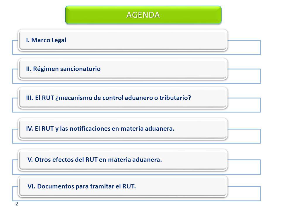 I. Marco Legal III. El RUT ¿mecanismo de control aduanero o tributario? AGENDAAGENDA IV. El RUT y las notificaciones en materia aduanera. 2 II. Régime