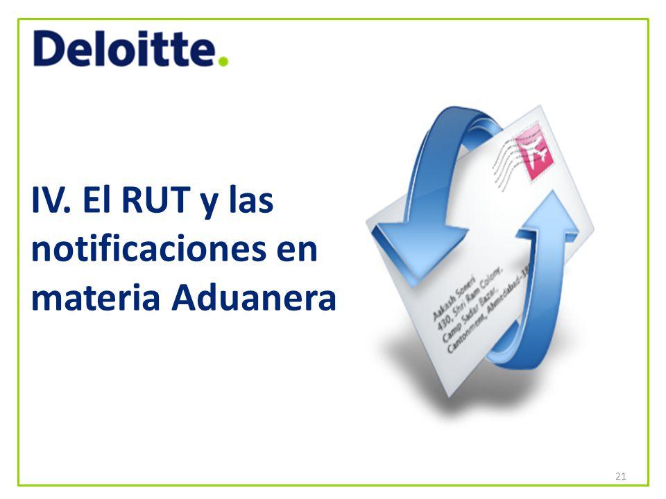 IV. El RUT y las notificaciones en materia Aduanera 21