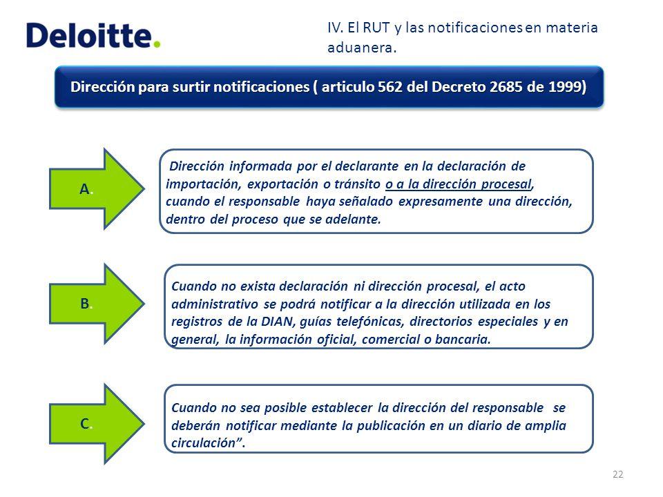Dirección para surtir notificaciones ( articulo 562 del Decreto 2685 de 1999) 22 A.A. Dirección informada por el declarante en la declaración de impor