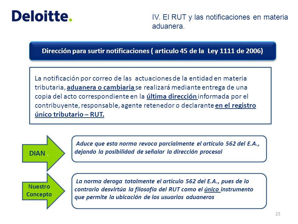 Dirección para surtir notificaciones ( articulo 45 de la Ley 1111 de 2006) 23 La notificación por correo de las actuaciones de la entidad en materia t