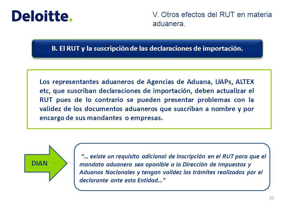 B. El RUT y la suscripción de las declaraciones de importación. 30 Los representantes aduaneros de Agencias de Aduana, UAPs, ALTEX etc, que suscriban
