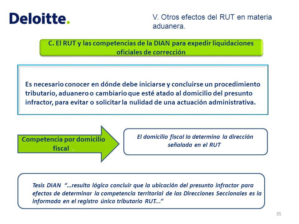 C. El RUT y las competencias de la DIAN para expedir liquidaciones oficiales de corrección 31 Es necesario conocer en dónde debe iniciarse y concluirs