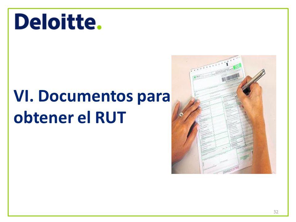 VI. Documentos para obtener el RUT 32