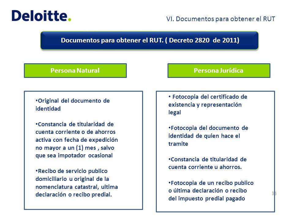 Documentos para obtener el RUT. ( Decreto 2820 de 2011) Documentos para obtener el RUT. ( Decreto 2820 de 2011) 33 Persona NaturalPersona Jurídica Ori