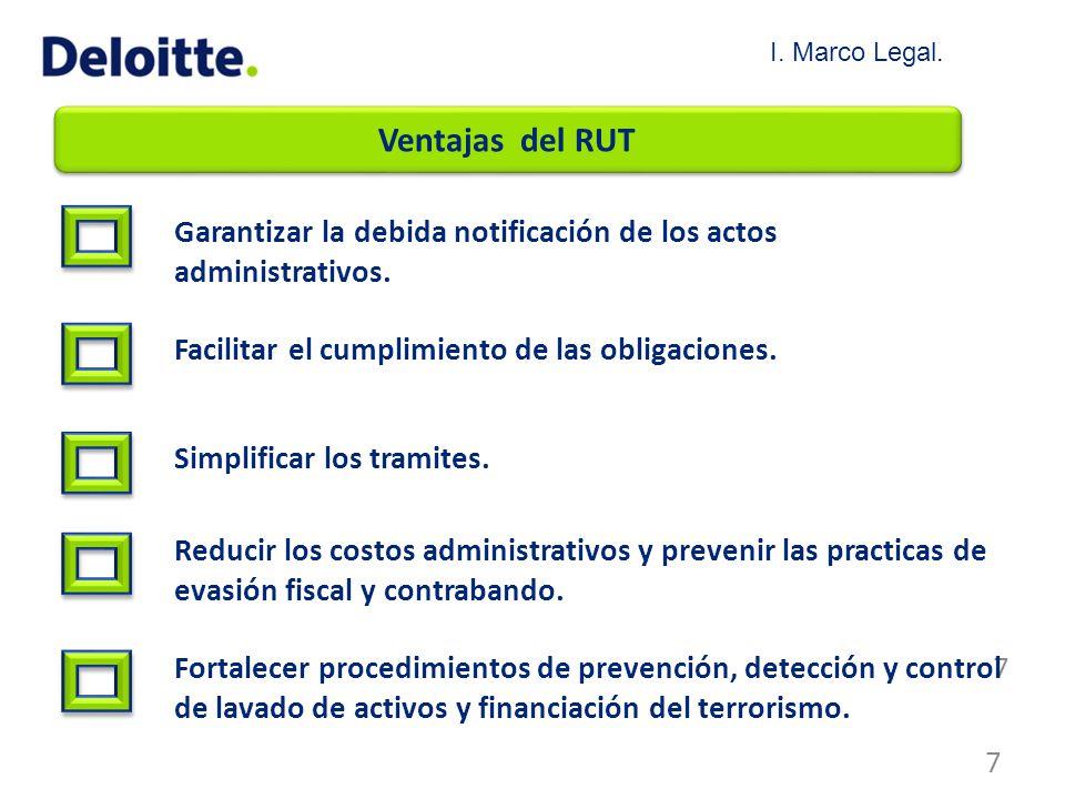 Ventajas del RUT Garantizar la debida notificación de los actos administrativos. Facilitar el cumplimiento de las obligaciones. Simplificar los tramit