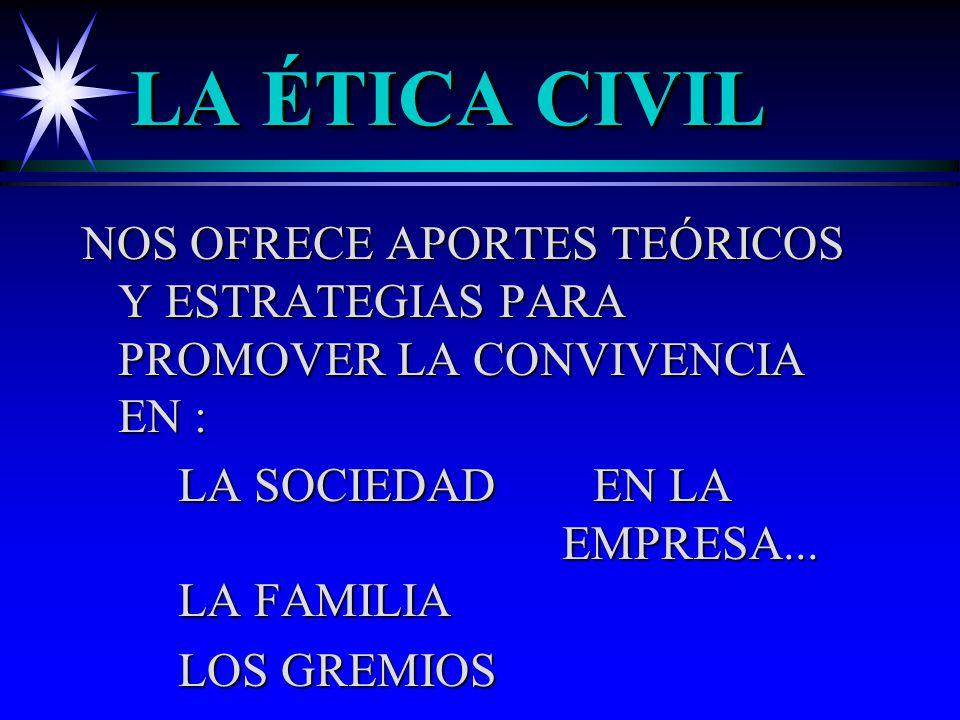 LA ÉTICA CIVIL NOS OFRECE APORTES TEÓRICOS Y ESTRATEGIAS PARA PROMOVER LA CONVIVENCIA EN : LA SOCIEDAD EN LA EMPRESA... LA FAMILIA LA SOCIEDAD EN LA E