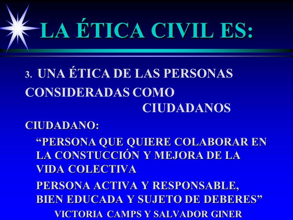 LA ÉTICA CIVIL ES: 3. UNA ÉTICA DE LAS PERSONAS CONSIDERADAS COMO CIUDADANOSCIUDADANO: PERSONA QUE QUIERE COLABORAR EN LA CONSTUCCIÓN Y MEJORA DE LA V