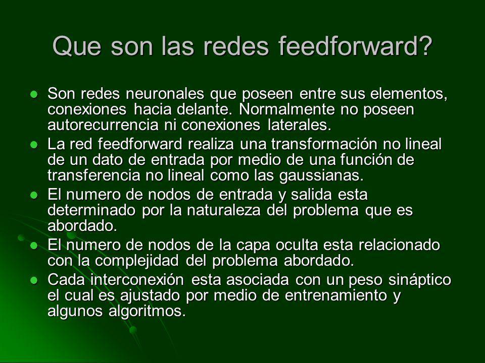 Que son las redes feedforward? Son redes neuronales que poseen entre sus elementos, conexiones hacia delante. Normalmente no poseen autorecurrencia ni
