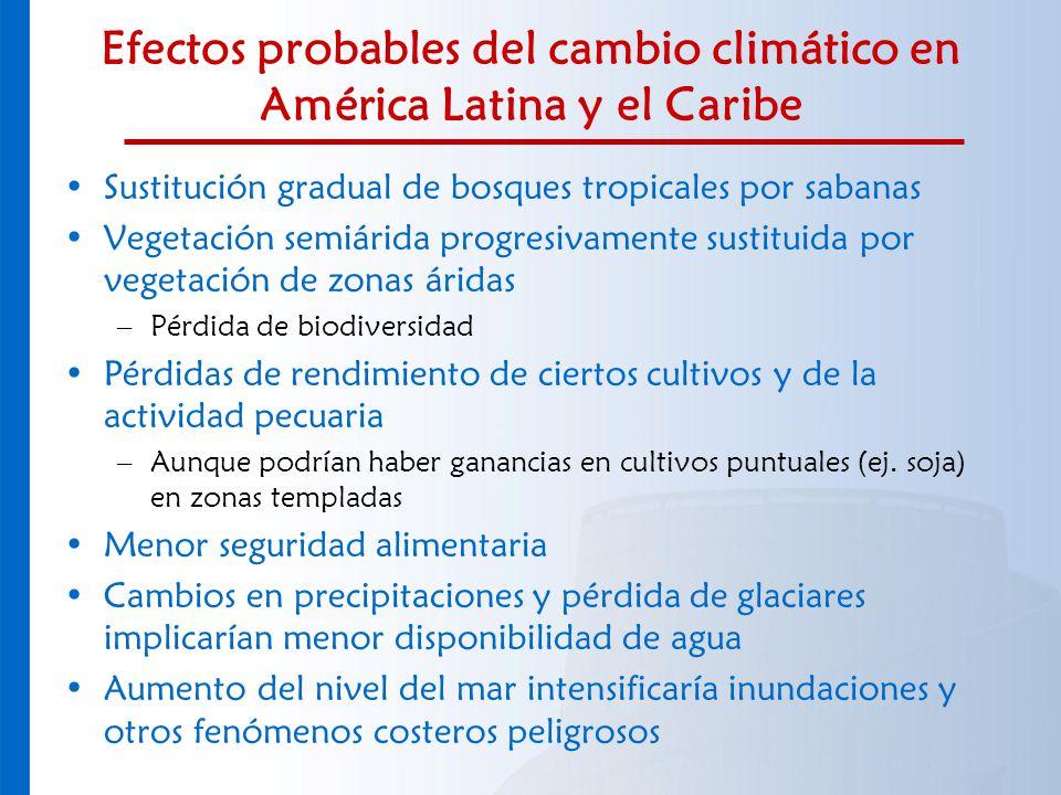 Efectos probables del cambio climático en América Latina y el Caribe Sustitución gradual de bosques tropicales por sabanas Vegetación semiárida progre
