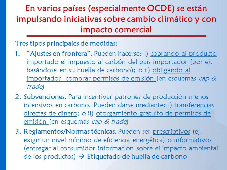 En varios países (especialmente OCDE) se están impulsando iniciativas sobre cambio climático y con impacto comercial Tres tipos principales de medidas
