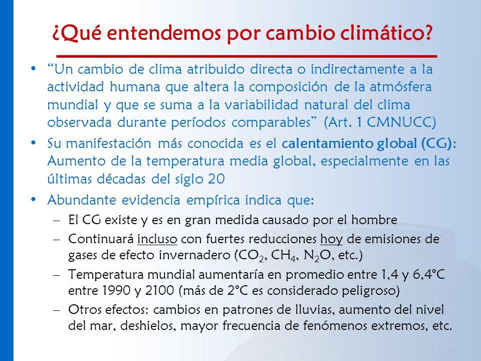 ¿Qué entendemos por cambio climático? Un cambio de clima atribuido directa o indirectamente a la actividad humana que altera la composición de la atmó