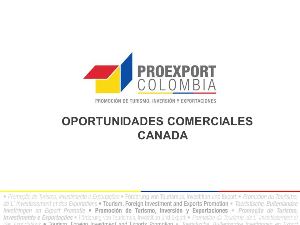 El mercado canadiense Importaciones por región – 2011 Fuente: Industry Canada Comercio Canadá Medio Oriente 1% África 3% América Latina 4% (excluido México) Otra Europa 2% Europa Occidental 12% Asia y Pacífico 18% Norte América 54% ( incluyendo México)