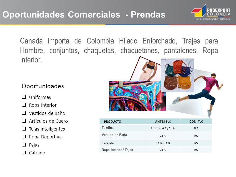 Oportunidades Canadá importa de Colombia Hilado Entorchado, Trajes para Hombre, conjuntos, chaquetas, chaquetones, pantalones, Ropa Interior. Uniforme