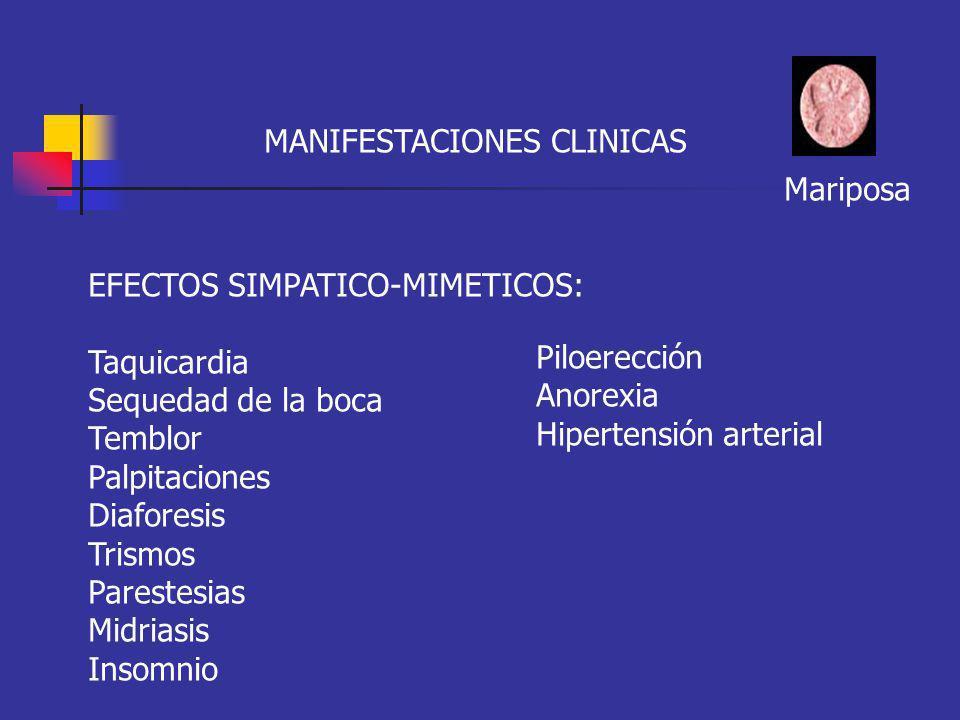 MANIFESTACIONES CLINICAS Mariposa EFECTOS SIMPATICO-MIMETICOS: Taquicardia Sequedad de la boca Temblor Palpitaciones Diaforesis Trismos Parestesias Mi