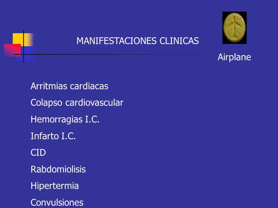 MANIFESTACIONES CLINICAS Airplane Arritmias cardiacas Colapso cardiovascular Hemorragias I.C. Infarto I.C. CID Rabdomiolisis Hipertermia Convulsiones