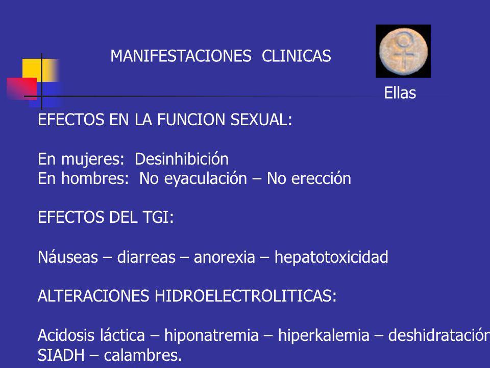 MANIFESTACIONES CLINICAS EFECTOS EN LA FUNCION SEXUAL: En mujeres: Desinhibición En hombres: No eyaculación – No erección EFECTOS DEL TGI: Náuseas – d