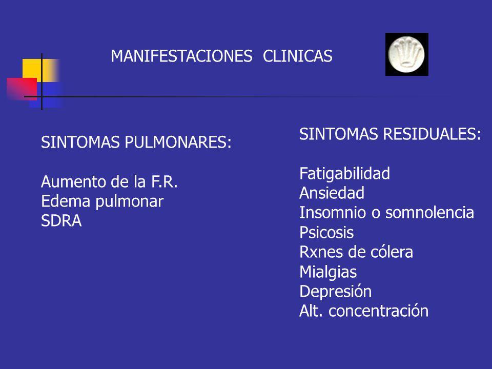 MANIFESTACIONES CLINICAS SINTOMAS PULMONARES: Aumento de la F.R. Edema pulmonar SDRA SINTOMAS RESIDUALES: Fatigabilidad Ansiedad Insomnio o somnolenci