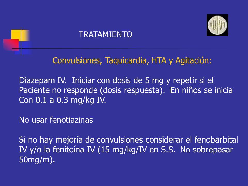 TRATAMIENTO Convulsiones, Taquicardia, HTA y Agitación: Diazepam IV. Iniciar con dosis de 5 mg y repetir si el Paciente no responde (dosis respuesta).