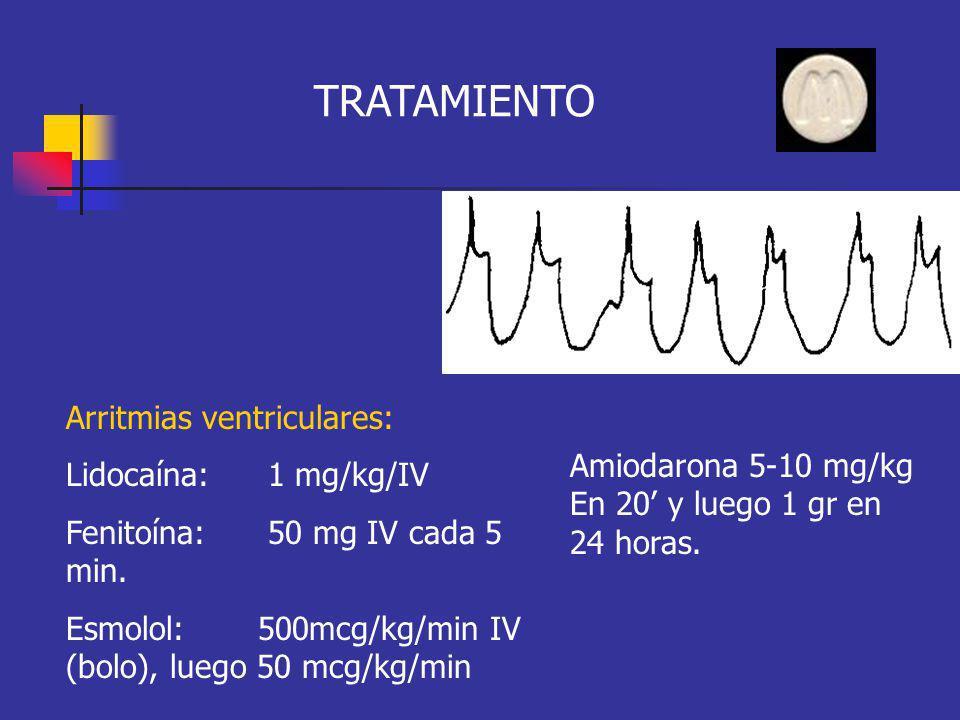Arritmias ventriculares: Lidocaína: 1 mg/kg/IV Fenitoína: 50 mg IV cada 5 min. Esmolol: 500mcg/kg/min IV (bolo), luego 50 mcg/kg/min TRATAMIENTO Amiod
