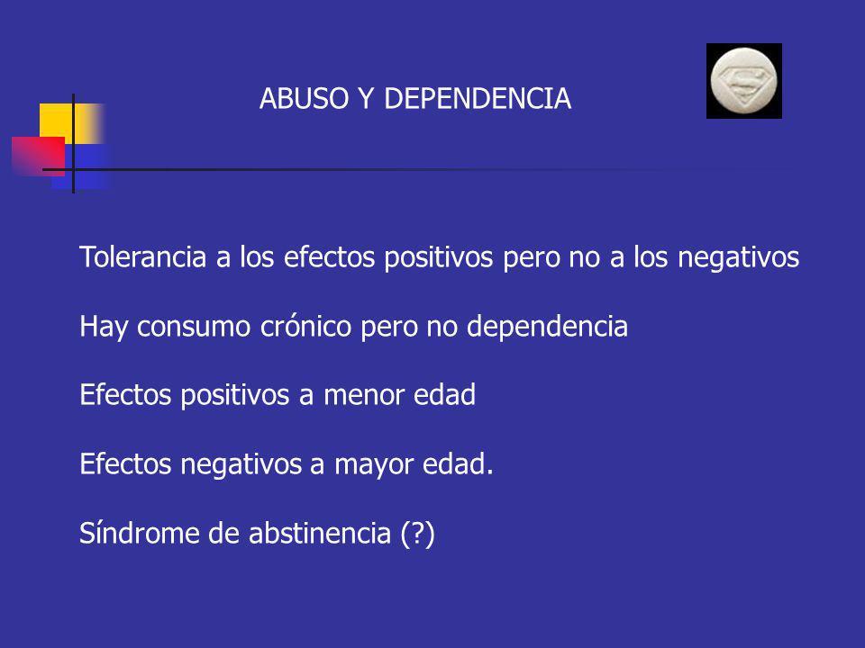 ABUSO Y DEPENDENCIA Tolerancia a los efectos positivos pero no a los negativos Hay consumo crónico pero no dependencia Efectos positivos a menor edad