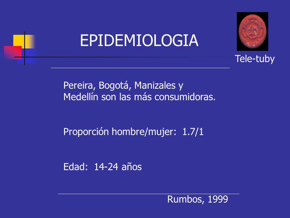 Pereira, Bogotá, Manizales y Medellín son las más consumidoras. Proporción hombre/mujer: 1.7/1 Edad: 14-24 años EPIDEMIOLOGIA Rumbos, 1999 Tele-tuby