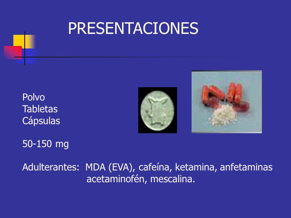 MANIFESTACIONES CLINICAS Mariposa EFECTOS SIMPATICO-MIMETICOS: Taquicardia Sequedad de la boca Temblor Palpitaciones Diaforesis Trismos Parestesias Midriasis Insomnio Piloerección Anorexia Hipertensión arterial