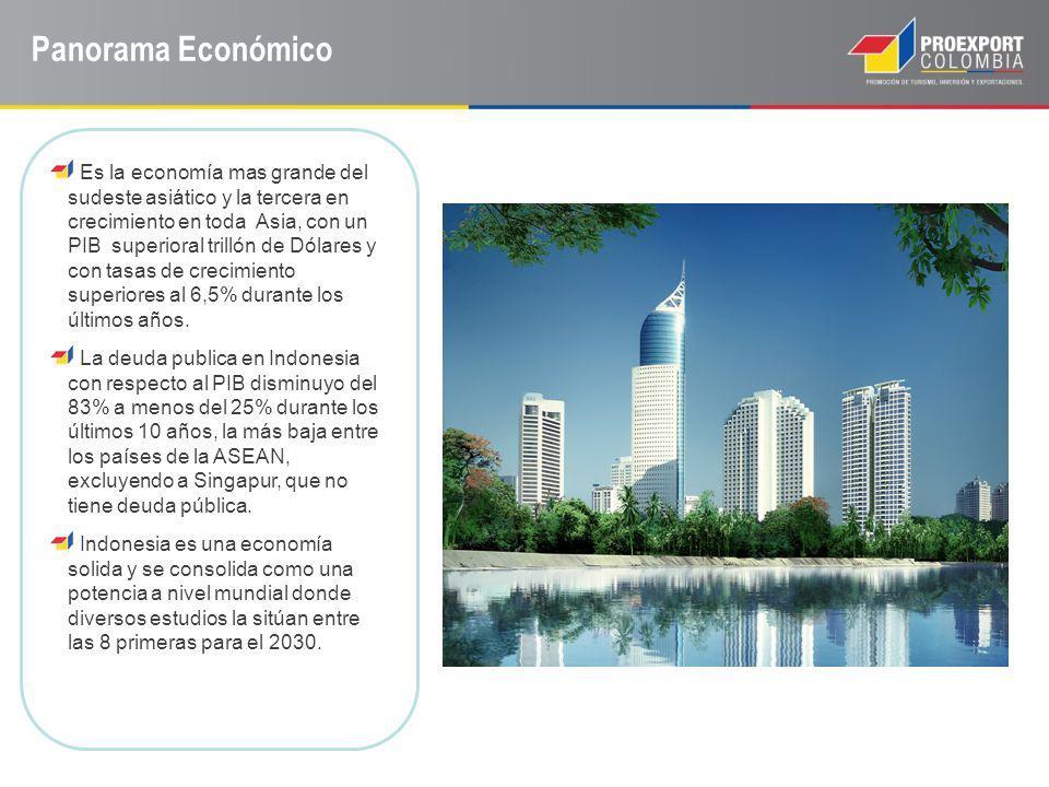 Panorama Económico Es la economía mas grande del sudeste asiático y la tercera en crecimiento en toda Asia, con un PIB superioral trillón de Dólares y