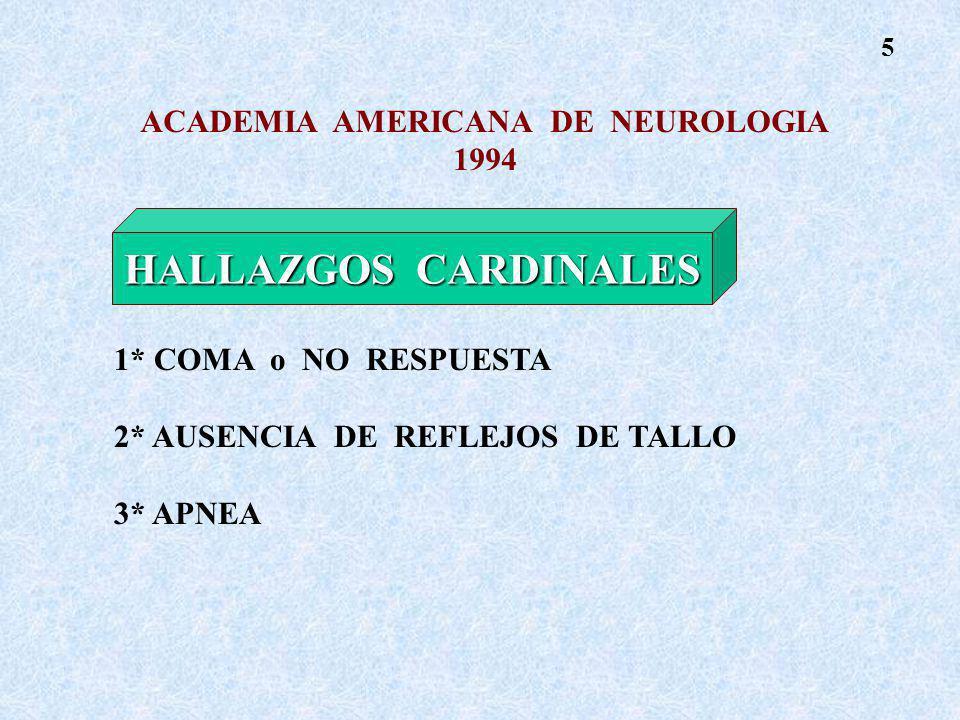 ACADEMIA AMERICANA DE NEUROLOGIA 1994 HALLAZGOS CARDINALES 1* COMA o NO RESPUESTA 2* AUSENCIA DE REFLEJOS DE TALLO 3* APNEA HALLAZGOS CARDINALES 5