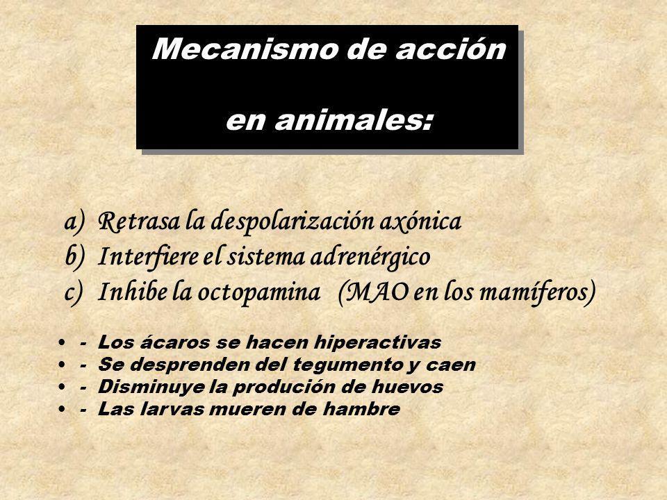 Mecanismo de acción en animales: Mecanismo de acción en animales: a)Retrasa la despolarización axónica b)Interfiere el sistema adrenérgico c)Inhibe la